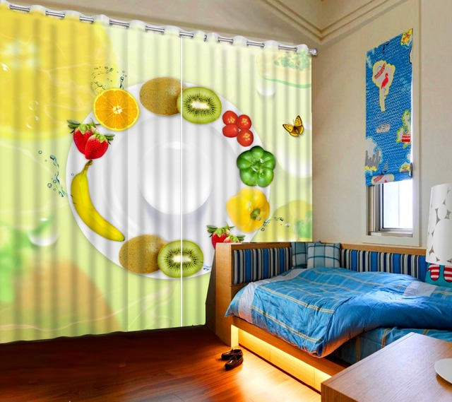 Modern 3D Yellow Fruit Curtains Custom Living Room Bedroom Blackout Chinese For Hotel
