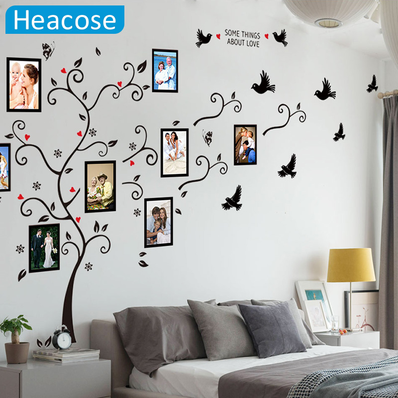 large size photo love PVC wall stickers tree living room bedroom 140cm*280cm/55*110 mural art home decor