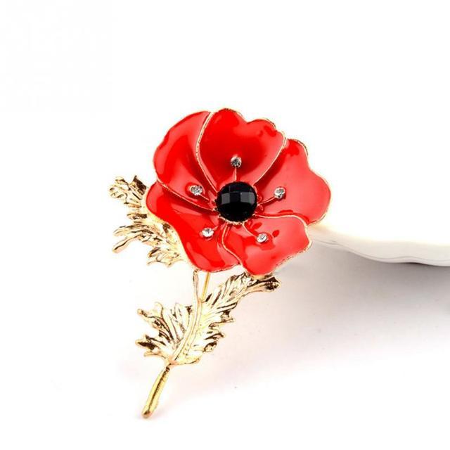 New Poppy Flower Lapel Pin Badge Banquet Enamel Crystal Broach