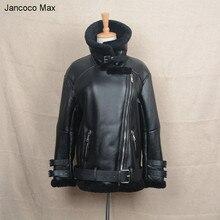 Women Fashion Real Leather Punk Motorcycle Jacket Biker Jackets Fur Winter Men Genuine Outerwear S1640