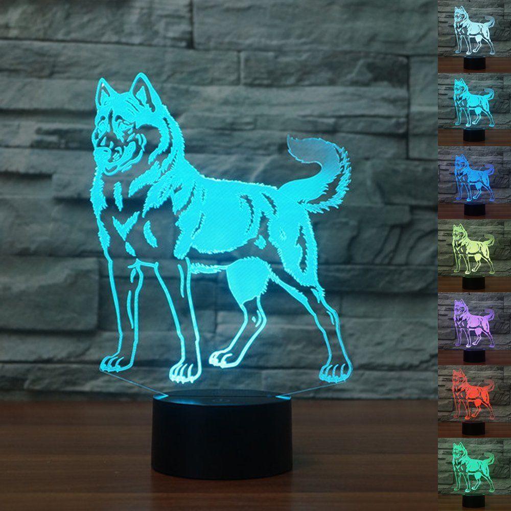 ValentineS Day Halloween Decorations Doberman Pet 3D Night Light Led Table Lamp 3D Lihgting 7 Colors Changing Usb Lamp