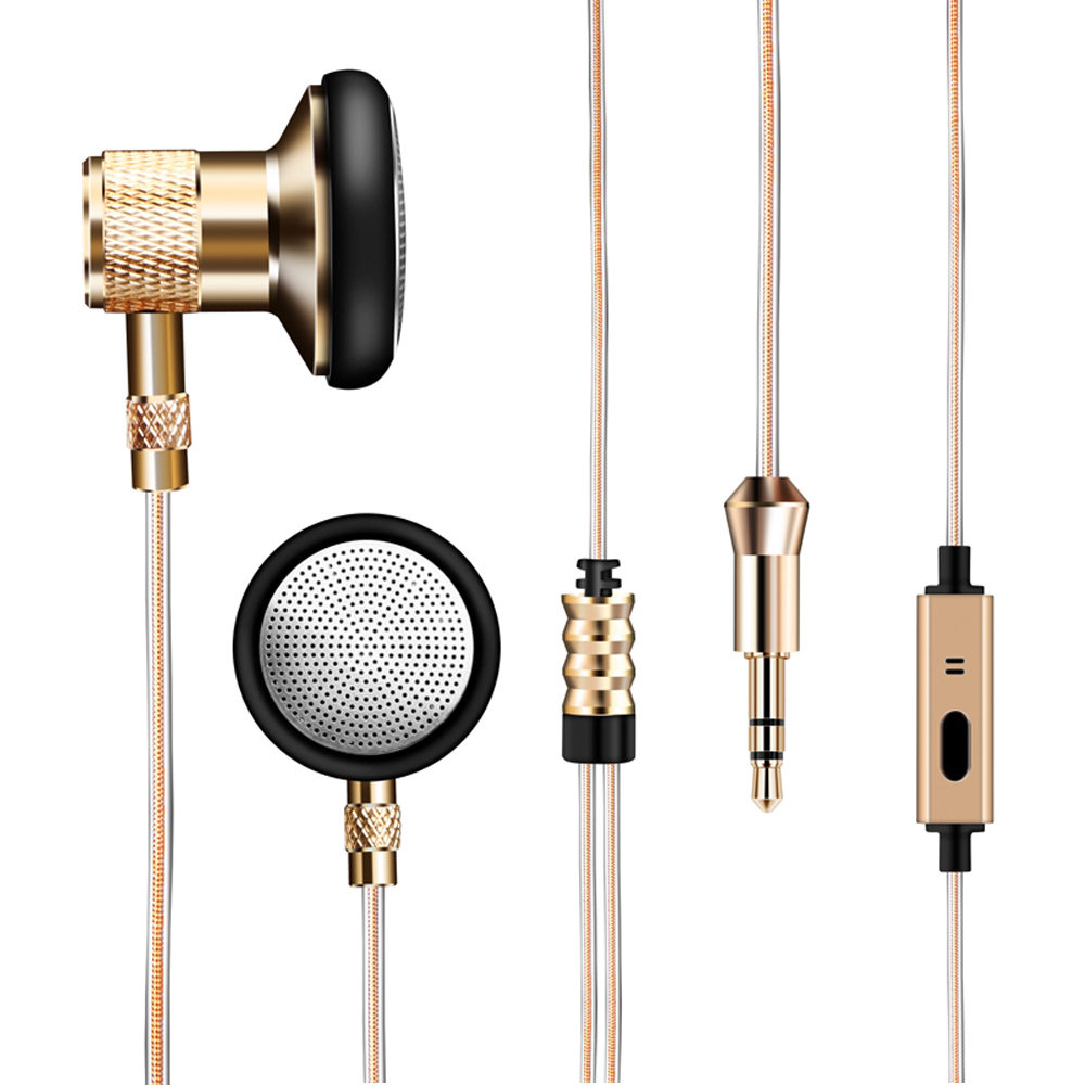 KST-T6 Golden Skin Earphone With Mic & Metal Earbuds & single crystal copper wire Earphones Handsfree Call For Android/IOS Phone kst x7 metal earphone 3d stereo with mic