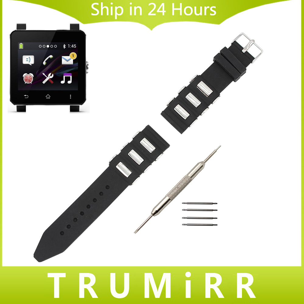 24mm Silicone Rubber Watchband + Tool + Spring Bars for Sony Samrtwatch 2 SW2 Watch Band Wrist Strap Resin Belt Bracelet Black silicone rubber watch band 20mm 22mm 24mm for jacques lemans watchband strap wrist loop belt bracelet black men women tool