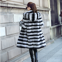 New Hoodie Blue Violet Blue Totoro Real Rabbit hair Long section Leather Grass coat Female fur One