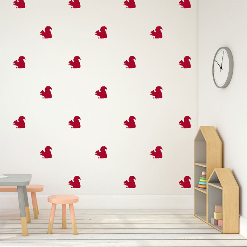 28 Pcs set Lovely Squirrel Wall Sticker Vinyl Home Decor Kids Room Nursery Decals Nature Murals Removable Animal Pattern 3493 in Wall Stickers from Home Garden
