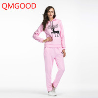 QMGOOD 2017 Autumn Winter Ladies Suits Two Pieces Set Sweater Casual Tracksuits Set Cartoon Pattern Hoodies