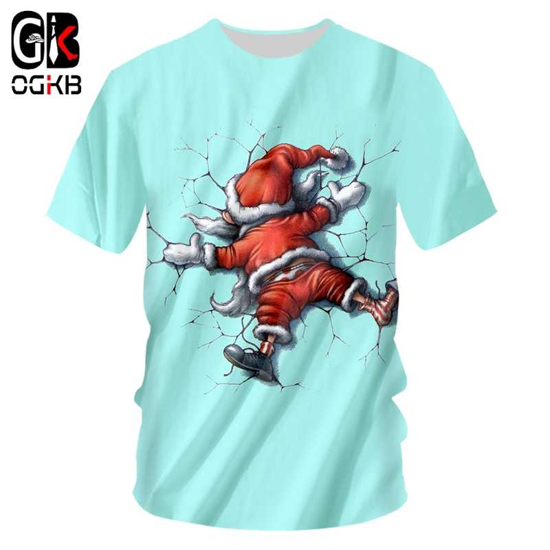 OGKB O Neck T Camisas dos homens Novo Animal Natal 3D Homem Impresso Papai Noel Plus Size 5XL 6XL Figurino