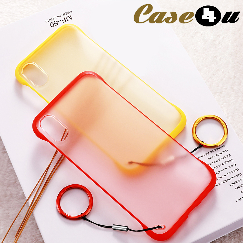 Clear Frameless Slim Matte Hard Phone Cases for iPhone 10 6 6s 7 8 Plus XS Max XR X 8Plus 7Plus Shockproof Cover + Finger Ring(China)
