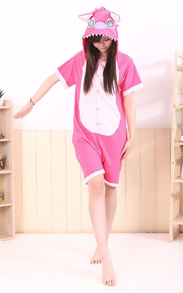 Cute Cartoon Anime Pink Stitch Summer Women Men Adult Onesie Cos Romper Shorts with Ears Mesh/Cotton Pajamas Sleepwear