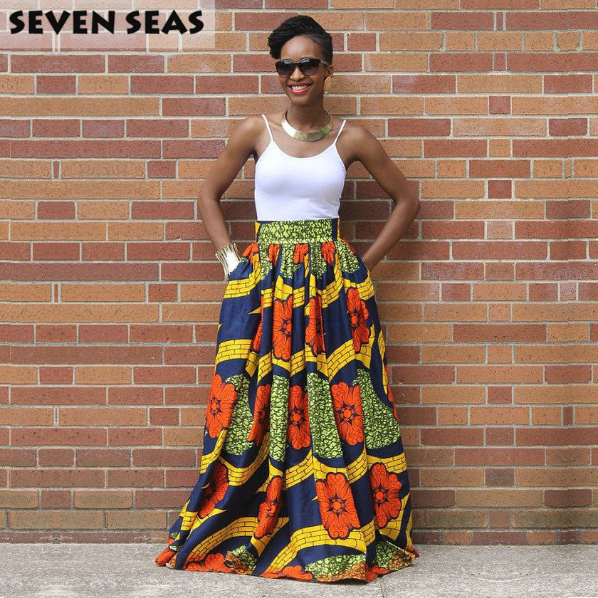 Elegant Long African Print Skirt Vintage Ethnic High Waist Maxi Skirts Jupe Longue Femme tote bag
