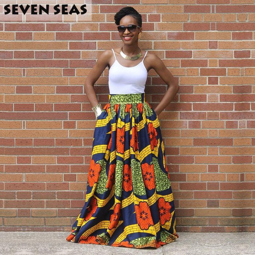 US $17.09 5% OFF|Elegant Long African Print Skirt Vintage Ethnic High Waist Maxi Skirts Jupe Longue Femme|jupe longue|jupe longue femme|high waist