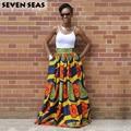Elegante falda larga de impresión africano vintage étnico maxi cintura alta faldas jupe longue femme
