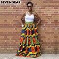 Elegante longo étnico africano impressão saia vintage cintura alta saias maxi jupe longue femme