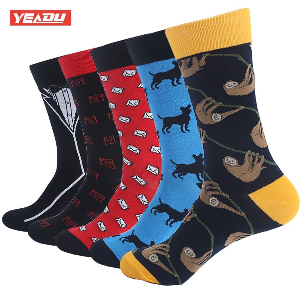 YEADU Combed Cotton Mens Crew Socks Colorful Harajuku Japan Dog Dress Sock for Male 5 Pair/Lot