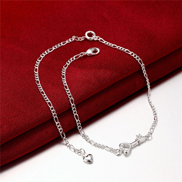 Silver Plated Heart Key Charm Anklet with Zircon Crystal