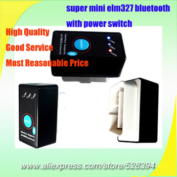 v1.5 OBD2 OBDII OBD II Scanner ELM 327 Super MINI ELM327 Bluetooth With Power Switch Works on Android Symbian Windows 10PCS