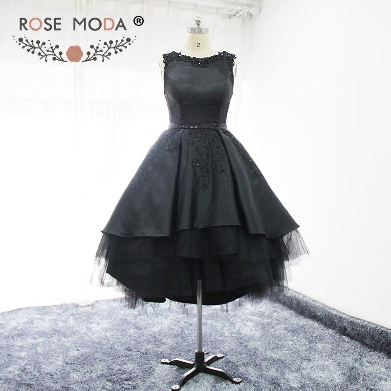 Без рукавов с вырезом сзади Черные Короткие платье для выпускного вечера с открытой спиной Высокий Низкий Подол бальная юбка торжественное платье Арабский Платье