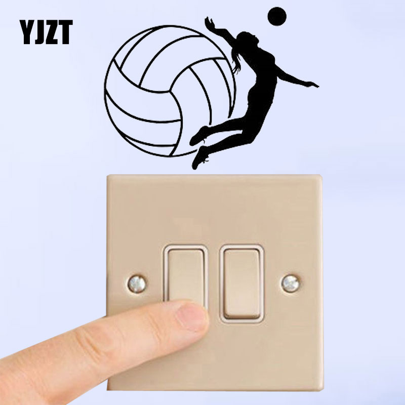 YJZT Girl Playing Volleyball Sport Team Volleyball Player Vinyl Decal Switch Sticker Personality Decor 8SS2279