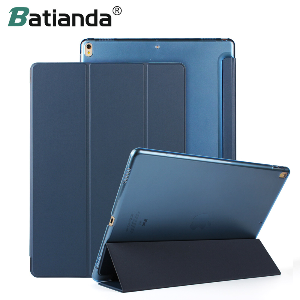 Batianda Case For iPad Pro 12.9 inch 2017 Model Lightweight Folding Stand with Auto Sleep/Wake Function, Hard Back Smart Cover for new ipad 9 7 inch 2017 2018 model pu leather smart case hard back cover auto sleep wake ultra slim folding flip stand cover