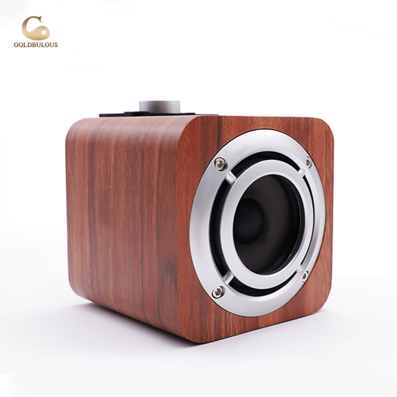 Goldbulous Portable Wooden Bluetooth Speaker with FM Radio AUX Audio TF 8W Super Bass HiFi Altavoz for Home Theater Computer PC