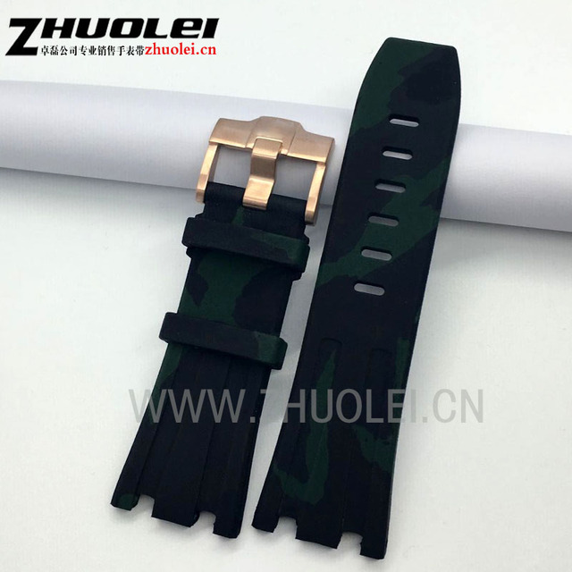 Luxury Band 28mm Army green camouflage  Rubber Silicone Waterproof with stainless steel pin clasp Watch Strap fit  AP watchband