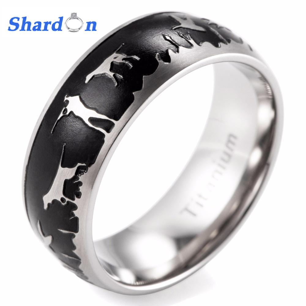 SHARDON 8mm Men's Domed Titanium Black Duck Hunt Ring outdoor wedding band hunter wedding band men ring black кольцо s j063 wedding band ring