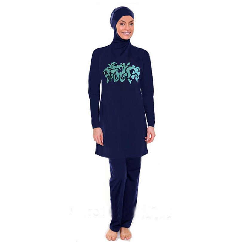 2019 женская одежда больших размеров с цветочным принтом мусульманская одежда для плавания хиджаб mAh Буркини Плавание Серфинг одежда спортивные бикини