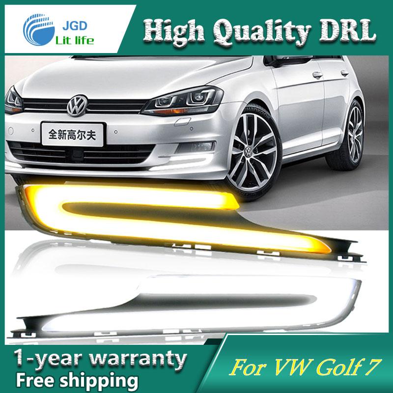 Free Shipping 12V 6000k LED DRL Daytime Running Light Case For VW Golf 7 2014 2015