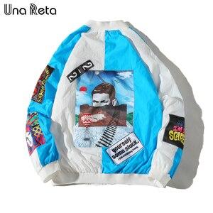 Image 1 - Una Reta Jackets Mens New Hip Hop Brand Thin Tracksuit Coat Fashion Casual Streetwear Man Pattern Stitching Baseball Jacket