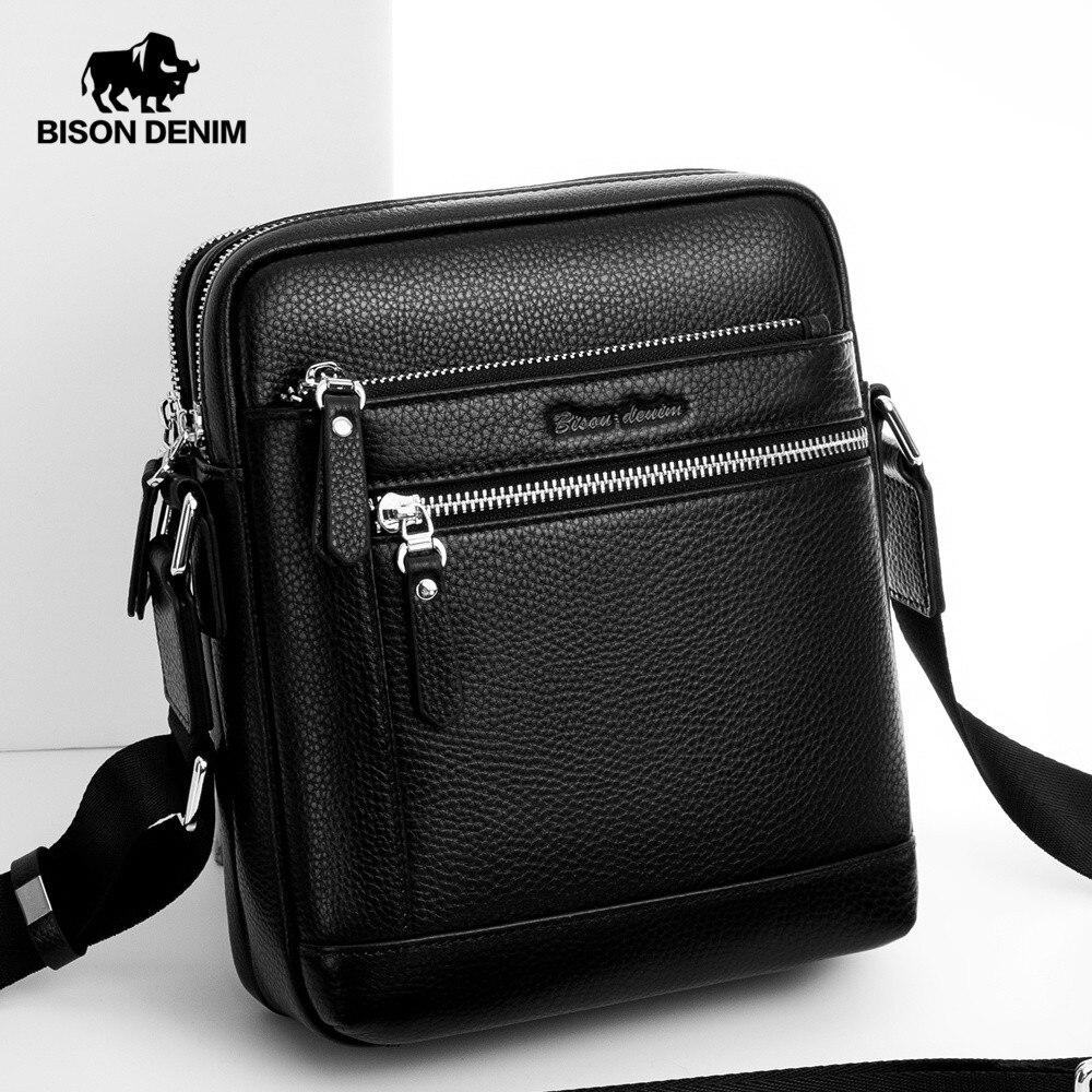 BISON DENIM mode männer tasche aus echtem leder männer messenger bags business männlichen kleine schulter taschen