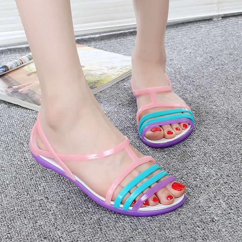 E TOY WORD Women 39 s sandals Candy Color Summer Women Flat Sandals Jelly Shoes Mixed Colors Plastic Casual Beach Women Shoes in Women 39 s Sandals from Shoes