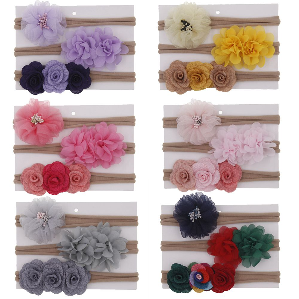 Yundfly 3PCS Chiffon Flower Baby Girls Headband Set Cute Rose Flower Kids Newborn Nylon Hair Bands Headwear Photography Props
