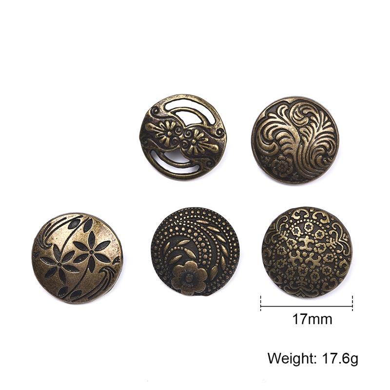 10 unids/set 17mm latón antiguo patrón de Metal botones de costura ...