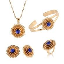 Bangrui Ethiopian Pendant Necklace/Bangle/Earrings/Ring set Jewelry Gold African Eritrea Bridal Wedding Women/Girl