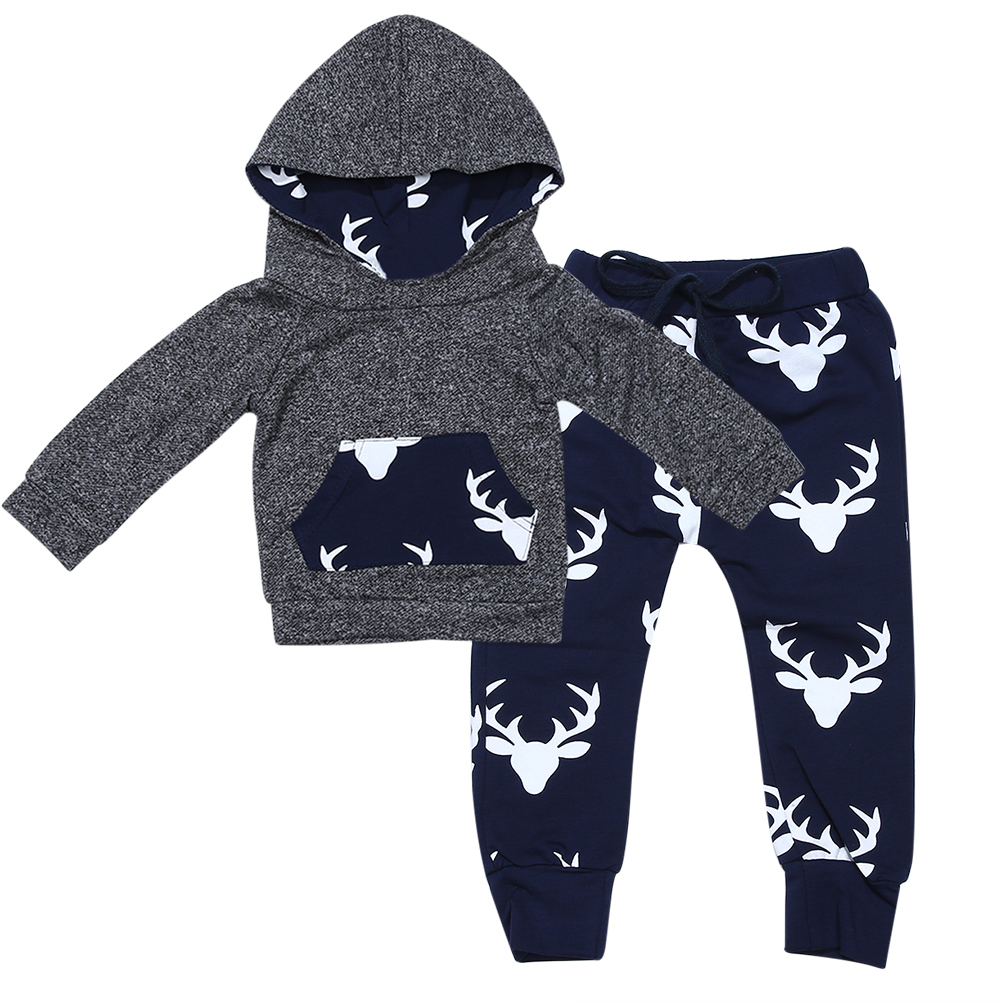 Autumn Baby Boys Clothes Set Infant Toddler Boys Deer Long Sleeve Shirt Hoodie Tops+Long Pants Warm Outfits Fashion Kids Clothes  new 2015 autumn winter fashion baby kids boys long sleeve shirt jeans denim trousers set outfits 1 6y