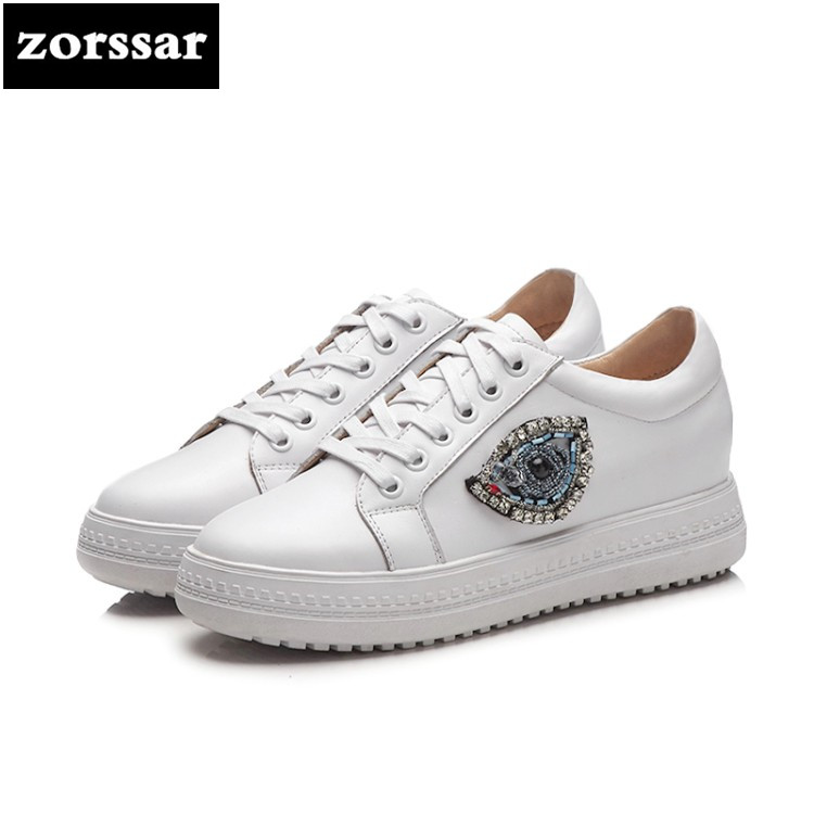 {Zorssar} Brands Genuine cow leather Womens sneakers Lace up flats Casual shoes 2018 New Fashion Rhinestone women flat loafers instantarts casual teen girls flats shoes appaloosa horse flower pattern women lace up sneakers fashion comfort mesh flat shoes