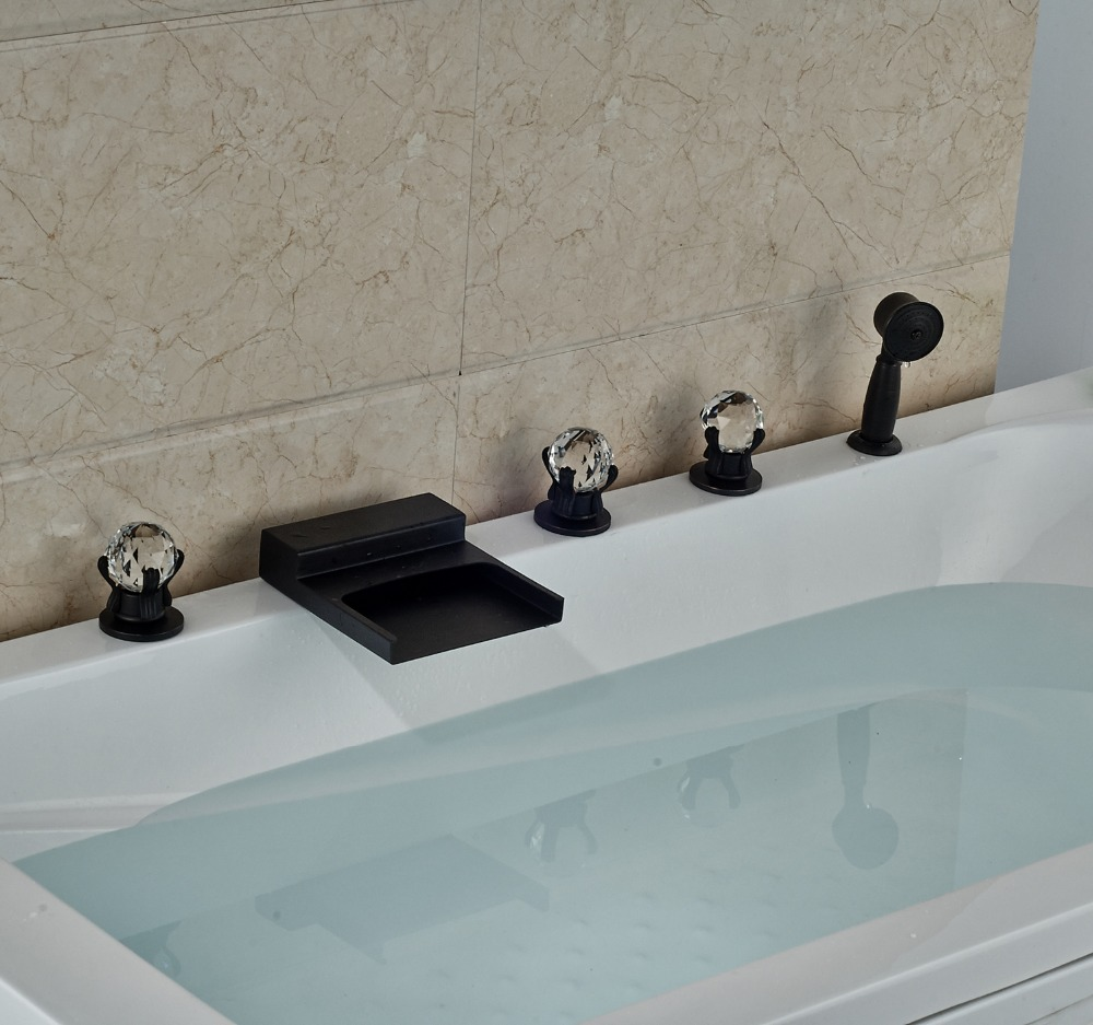 Oil Rubbed Bronze Finished 5 Holes Bathtub Faucet With Brass Hand Sprayer Deck Mounted