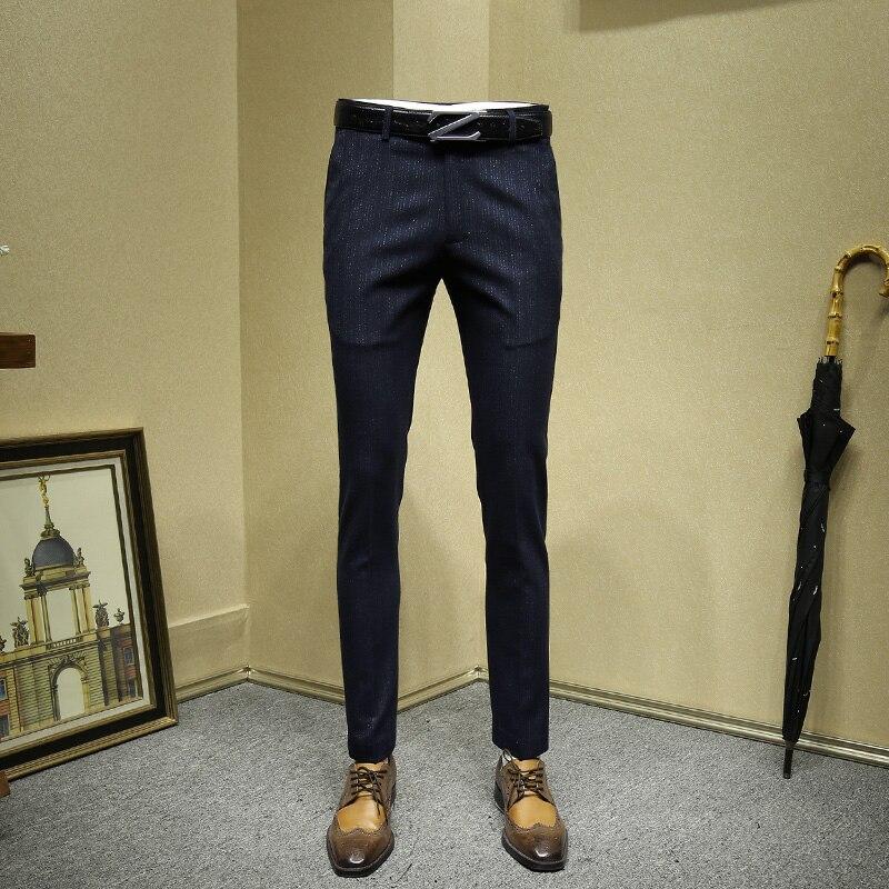 Hommes robe pantalon bleu profond dépouillé formelle affaires slim fit style coréen bureau homme pantalon mariage marié porter grande taille 36