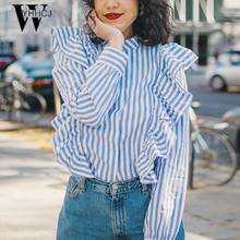 WYHHCJ Long sleeve blouse shirt women tops Casual 2017 summer ruffle striped shirt Cotton white blouse
