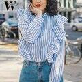 WYHHCJ de manga Larga camisa de la blusa mujeres tops Casual 2017 de la colmena del verano de rayas camisa de Algodón blusa blanca chemise femme blusas