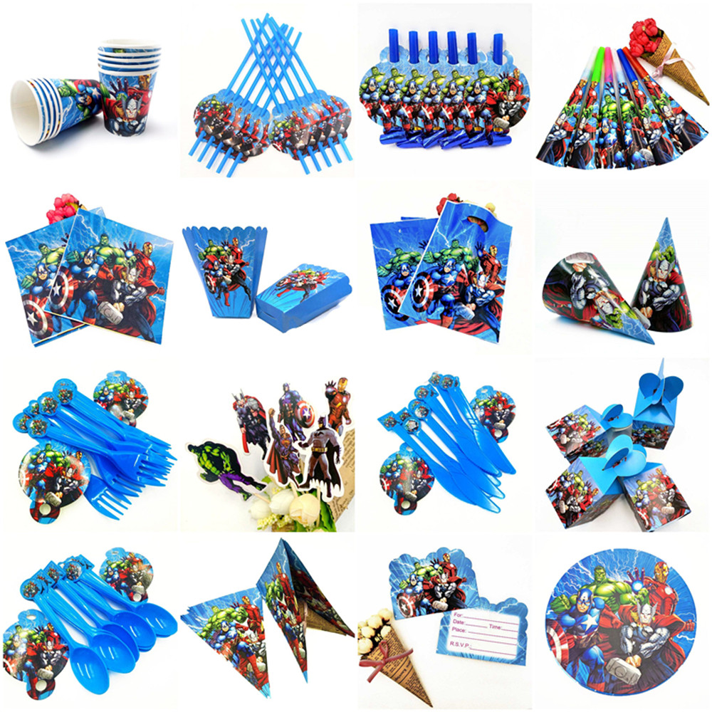 The Avengers Party Supplies Decorations Kids Birthday Disposable Tableware Tablecloth Cups Superhero Party Theme Favors Boy Set