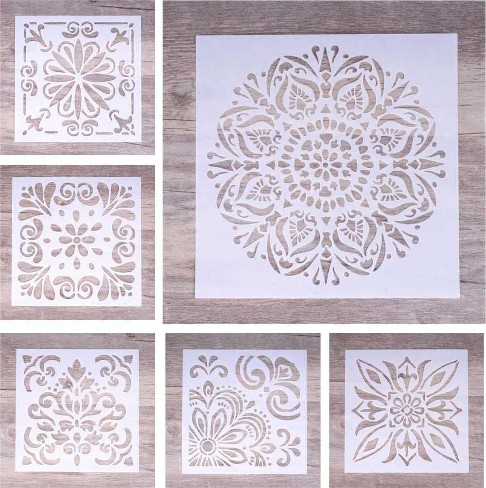 6 pcs DIY Craft Layering Background Stencil For Wall Painting Scrapbooking Stamping Album Decorative Embossing Paper Cards