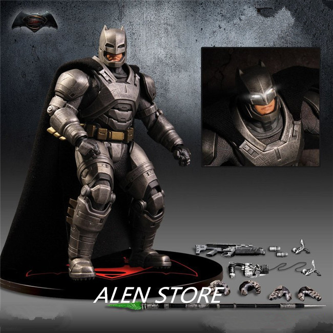 ALEN Batman Action Figure Bruce Wayne Justice League PVC Anime Movie Batman Heavily Armed Collectible Model Toy Superhero xinduplan dc comics play arts justice league movie batman bruce wayne movable action figure toys 27cm kids collection model 0271