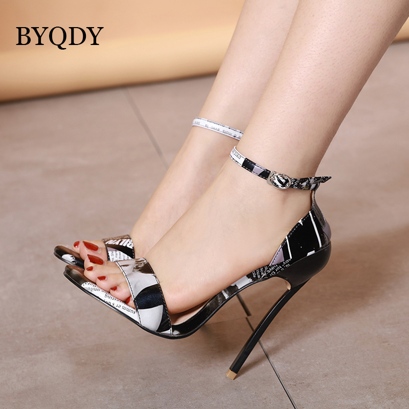 BYQDY Mature High Heel Women Sandals Pumps Heels Pointed Toe Stilettos de mujer Ankle Strap Woman zapatos