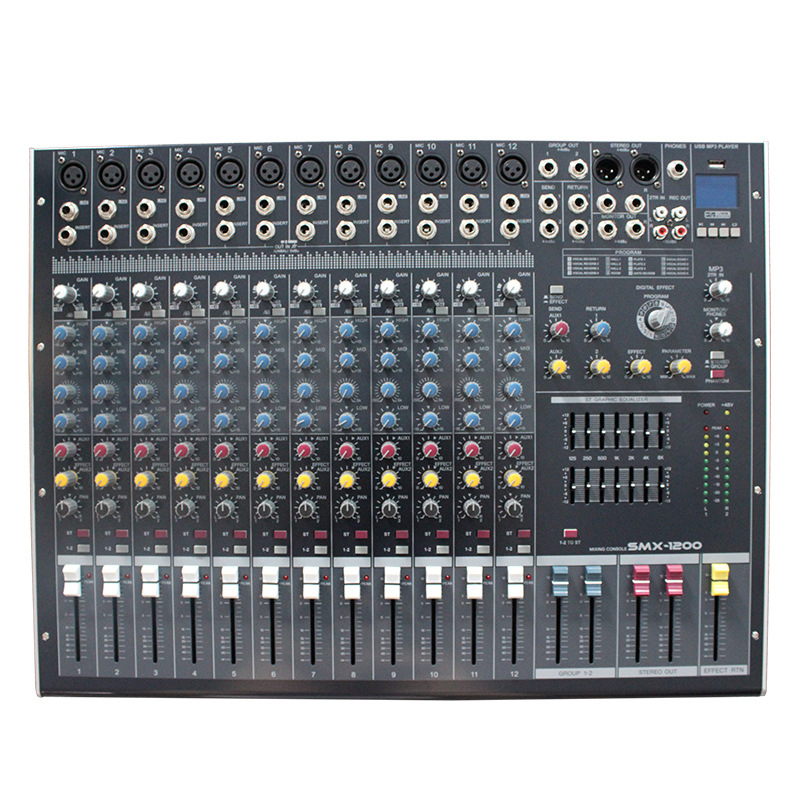 Hot Mini Audio Mixer Console DJ with USB Built in effect processor Audio Mixer 12 channel mixer sound console 48v power supply