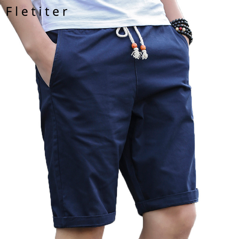Fletiter Summer Mens Casual Cotton Shorts Men Solid Slim Fit Knee Length Zip Shorts Male Breathable Shorts Bermuda Masculina