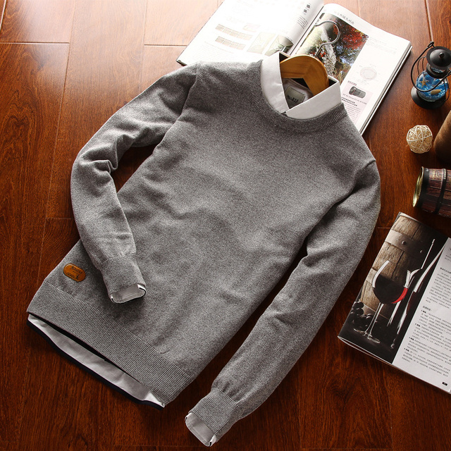 2016 Men Classical Polo Sweater Man Causal Brand Long Sleeve Cotton O Neck Spring Autumn Winter Pullovers  Plus Size Knitwear