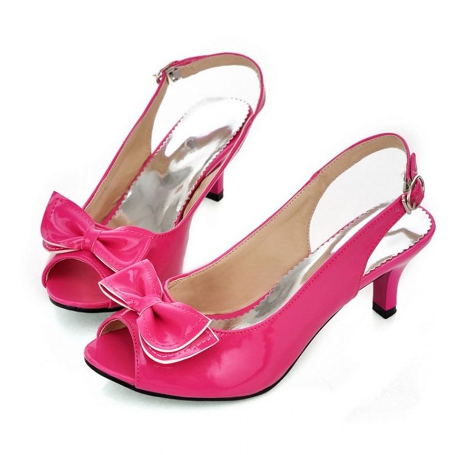 1403f7ea425e Women Sandals womens sexy peep toe low heel sandals bow slingbacks women  summer sandals shoes big size 35-43