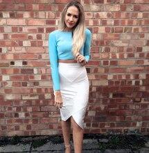 Sky Blue 2 Stücke Set Berühmtheit Langarm Bandage Kleid Fashion Cocktail Bodycon Kleid