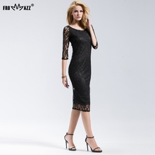 FROMMAZZ 2018 Summer New Women Lady Sexy Office O Neck Lace Dress European  Fashion Style Sheath e431648472d9